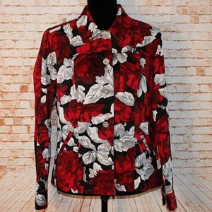 Chico's Additions Red and White Jacket Size 1